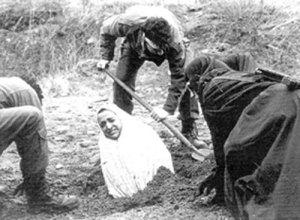 Vorbereitung zur Steinigung nach islamischem Recht